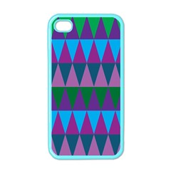 Blue Greens Aqua Purple Green Blue Plums Long Triangle Geometric Tribal Apple Iphone 4 Case (color)