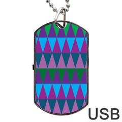 Blue Greens Aqua Purple Green Blue Plums Long Triangle Geometric Tribal Dog Tag Usb Flash (one Side)