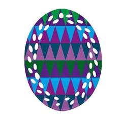 Blue Greens Aqua Purple Green Blue Plums Long Triangle Geometric Tribal Ornament (oval Filigree)