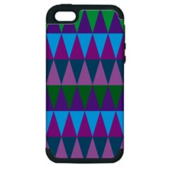 Blue Greens Aqua Purple Green Blue Plums Long Triangle Geometric Tribal Apple Iphone 5 Hardshell Case (pc+silicone)