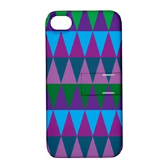 Blue Greens Aqua Purple Green Blue Plums Long Triangle Geometric Tribal Apple Iphone 4/4s Hardshell Case With Stand