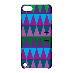 Blue Greens Aqua Purple Green Blue Plums Long Triangle Geometric Tribal Apple Ipod Touch 5 Hardshell Case With Stand