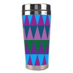 Blue Greens Aqua Purple Green Blue Plums Long Triangle Geometric Tribal Stainless Steel Travel Tumblers