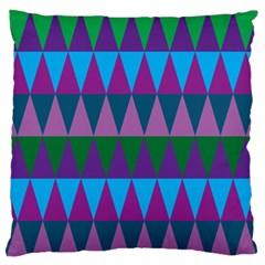 Blue Greens Aqua Purple Green Blue Plums Long Triangle Geometric Tribal Large Flano Cushion Case (two Sides)