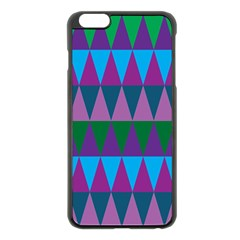 Blue Greens Aqua Purple Green Blue Plums Long Triangle Geometric Tribal Apple Iphone 6 Plus/6s Plus Black Enamel Case