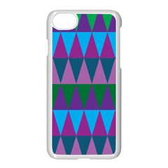Blue Greens Aqua Purple Green Blue Plums Long Triangle Geometric Tribal Apple Iphone 7 Seamless Case (white)