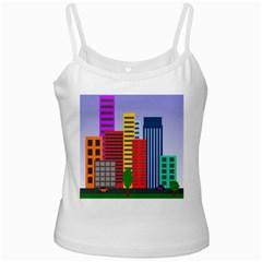 City Skyscraper Buildings Color Car Orange Yellow Blue Green Brown White Spaghetti Tank