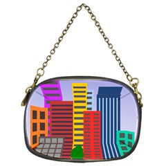 City Skyscraper Buildings Color Car Orange Yellow Blue Green Brown Chain Purses (one Side)