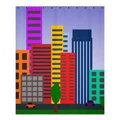 City Skyscraper Buildings Color Car Orange Yellow Blue Green Brown Shower Curtain 60  X 72  (medium)