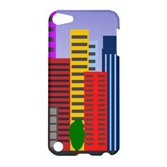 City Skyscraper Buildings Color Car Orange Yellow Blue Green Brown Apple Ipod Touch 5 Hardshell Case