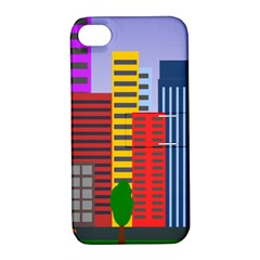 City Skyscraper Buildings Color Car Orange Yellow Blue Green Brown Apple Iphone 4/4s Hardshell Case With Stand