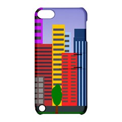 City Skyscraper Buildings Color Car Orange Yellow Blue Green Brown Apple Ipod Touch 5 Hardshell Case With Stand