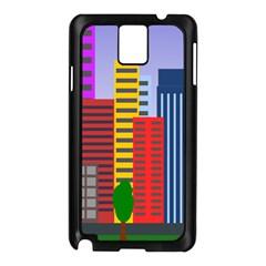 City Skyscraper Buildings Color Car Orange Yellow Blue Green Brown Samsung Galaxy Note 3 N9005 Case (black)