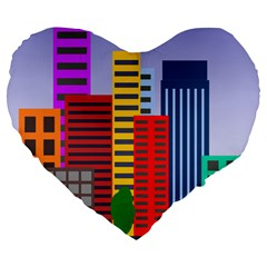 City Skyscraper Buildings Color Car Orange Yellow Blue Green Brown Large 19  Premium Flano Heart Shape Cushions