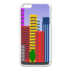 City Skyscraper Buildings Color Car Orange Yellow Blue Green Brown Apple Iphone 6 Plus/6s Plus Enamel White Case
