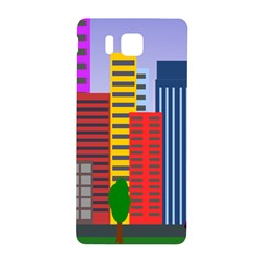 City Skyscraper Buildings Color Car Orange Yellow Blue Green Brown Samsung Galaxy Alpha Hardshell Back Case