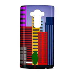 City Skyscraper Buildings Color Car Orange Yellow Blue Green Brown LG G4 Hardshell Case