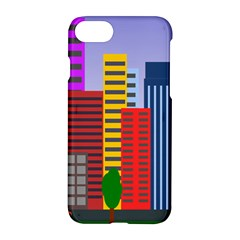 City Skyscraper Buildings Color Car Orange Yellow Blue Green Brown Apple Iphone 7 Hardshell Case