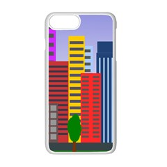 City Skyscraper Buildings Color Car Orange Yellow Blue Green Brown Apple Iphone 7 Plus White Seamless Case