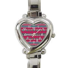 Aztec Geometric Red Chevron Wove Fabric Heart Italian Charm Watch