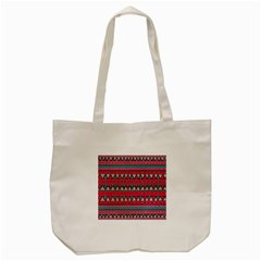 Aztec Geometric Red Chevron Wove Fabric Tote Bag (Cream)