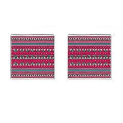 Aztec Geometric Red Chevron Wove Fabric Cufflinks (square)