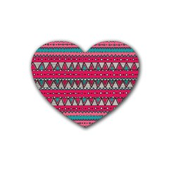 Aztec Geometric Red Chevron Wove Fabric Heart Coaster (4 Pack)
