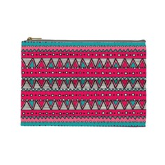 Aztec Geometric Red Chevron Wove Fabric Cosmetic Bag (large)