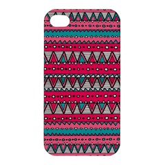 Aztec Geometric Red Chevron Wove Fabric Apple Iphone 4/4s Premium Hardshell Case