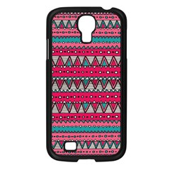 Aztec Geometric Red Chevron Wove Fabric Samsung Galaxy S4 I9500/ I9505 Case (black)