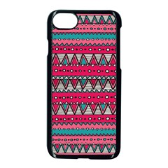 Aztec Geometric Red Chevron Wove Fabric Apple Iphone 7 Seamless Case (black)