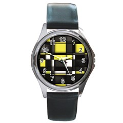 Color Geometry Shapes Plaid Yellow Black Round Metal Watch