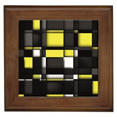 Color Geometry Shapes Plaid Yellow Black Framed Tiles