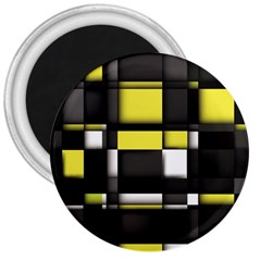Color Geometry Shapes Plaid Yellow Black 3  Magnets
