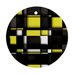 Color Geometry Shapes Plaid Yellow Black Ornament (round)