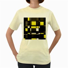 Color Geometry Shapes Plaid Yellow Black Women s Yellow T Shirt