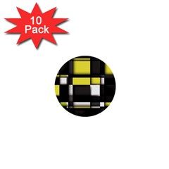Color Geometry Shapes Plaid Yellow Black 1  Mini Buttons (10 Pack)