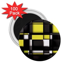 Color Geometry Shapes Plaid Yellow Black 2 25  Magnets (100 Pack)