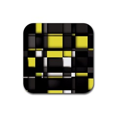 Color Geometry Shapes Plaid Yellow Black Rubber Square Coaster (4 Pack)