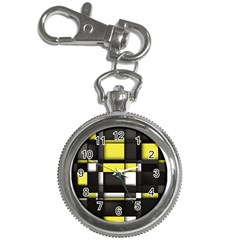 Color Geometry Shapes Plaid Yellow Black Key Chain Watches