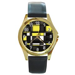 Color Geometry Shapes Plaid Yellow Black Round Gold Metal Watch