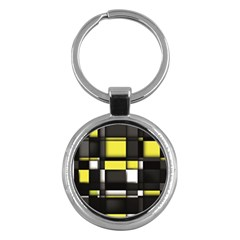 Color Geometry Shapes Plaid Yellow Black Key Chains (round)