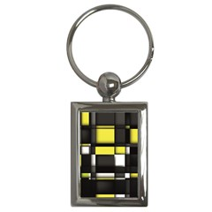 Color Geometry Shapes Plaid Yellow Black Key Chains (rectangle)
