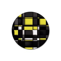 Color Geometry Shapes Plaid Yellow Black Rubber Round Coaster (4 Pack)