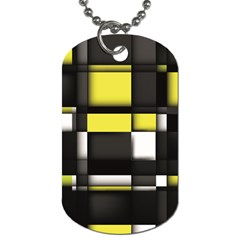 Color Geometry Shapes Plaid Yellow Black Dog Tag (one Side)