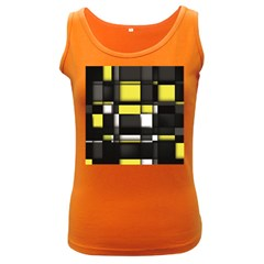 Color Geometry Shapes Plaid Yellow Black Women s Dark Tank Top