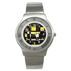 Color Geometry Shapes Plaid Yellow Black Stainless Steel Watch