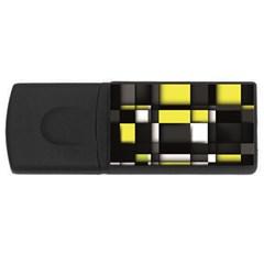 Color Geometry Shapes Plaid Yellow Black Usb Flash Drive Rectangular (4 Gb)