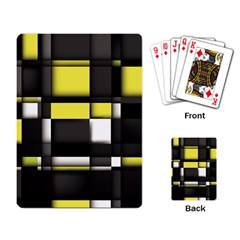 Color Geometry Shapes Plaid Yellow Black Playing Card