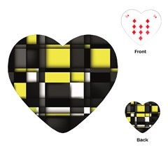 Color Geometry Shapes Plaid Yellow Black Playing Cards (heart)